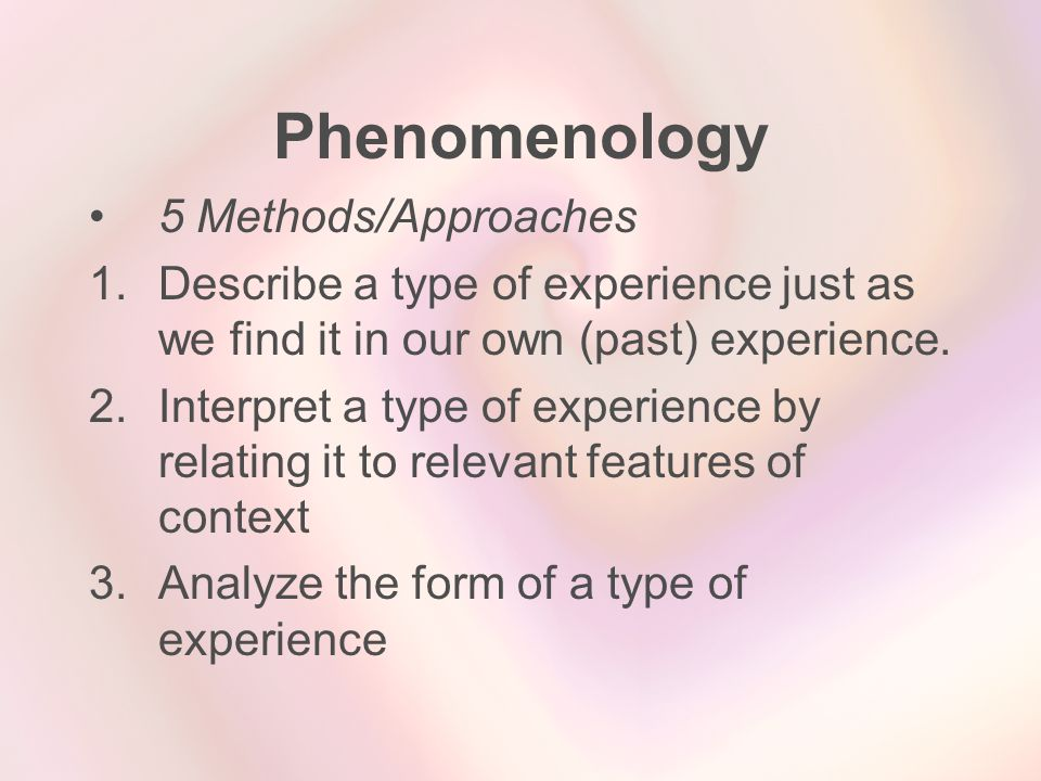 Phenomenology 5 Methods/Approaches