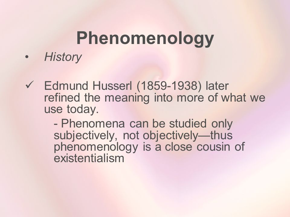 Phenomenology History