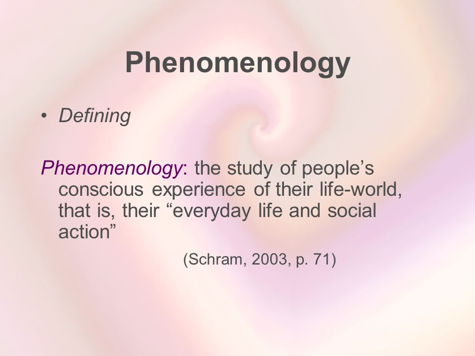 Phenomenology Defining