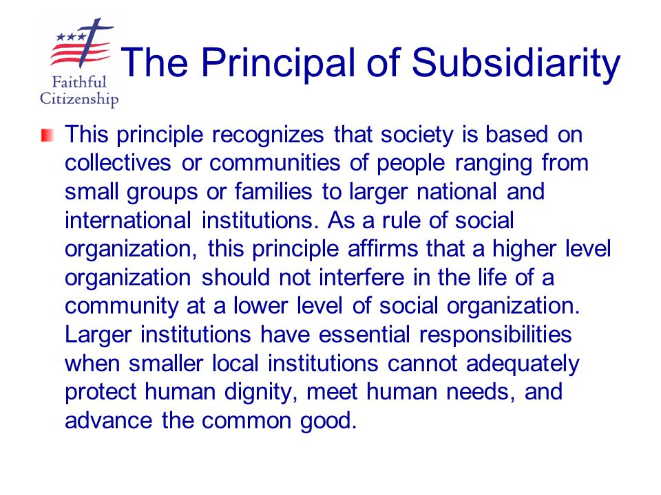 The Principal of Subsidiarity