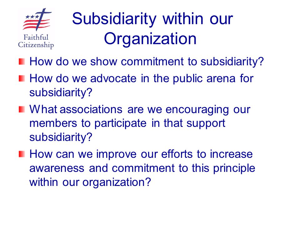 Subsidiarity within our Organization