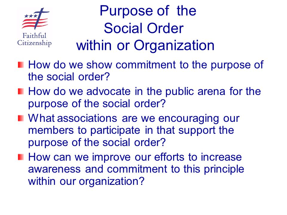 Purpose of the Social Order within or Organization