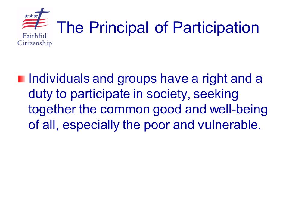 The Principal of Participation