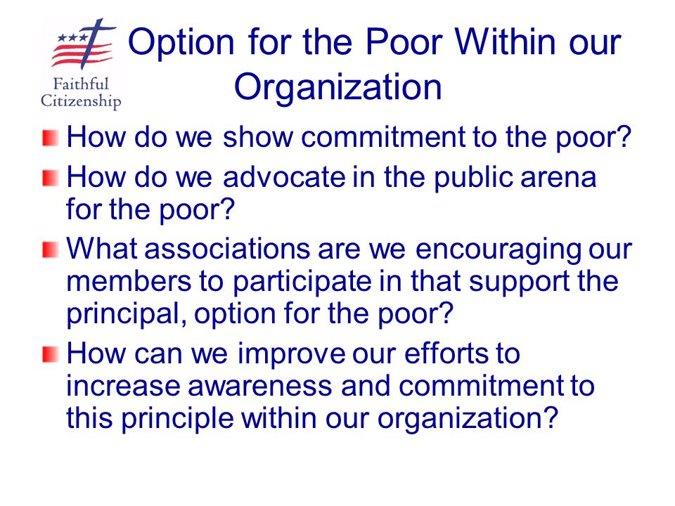 Option for the Poor Within our Organization