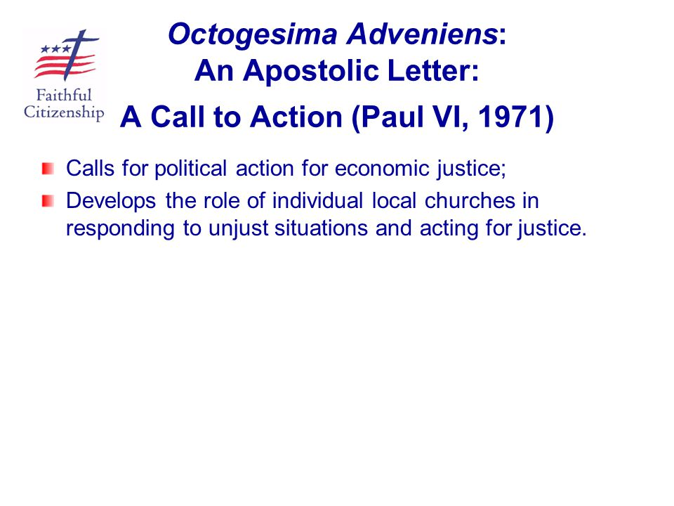 Octogesima Adveniens: An Apostolic Letter: A Call to Action (Paul VI, 1971)