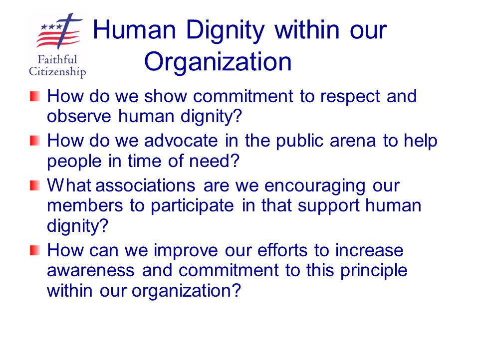 Human Dignity within our Organization