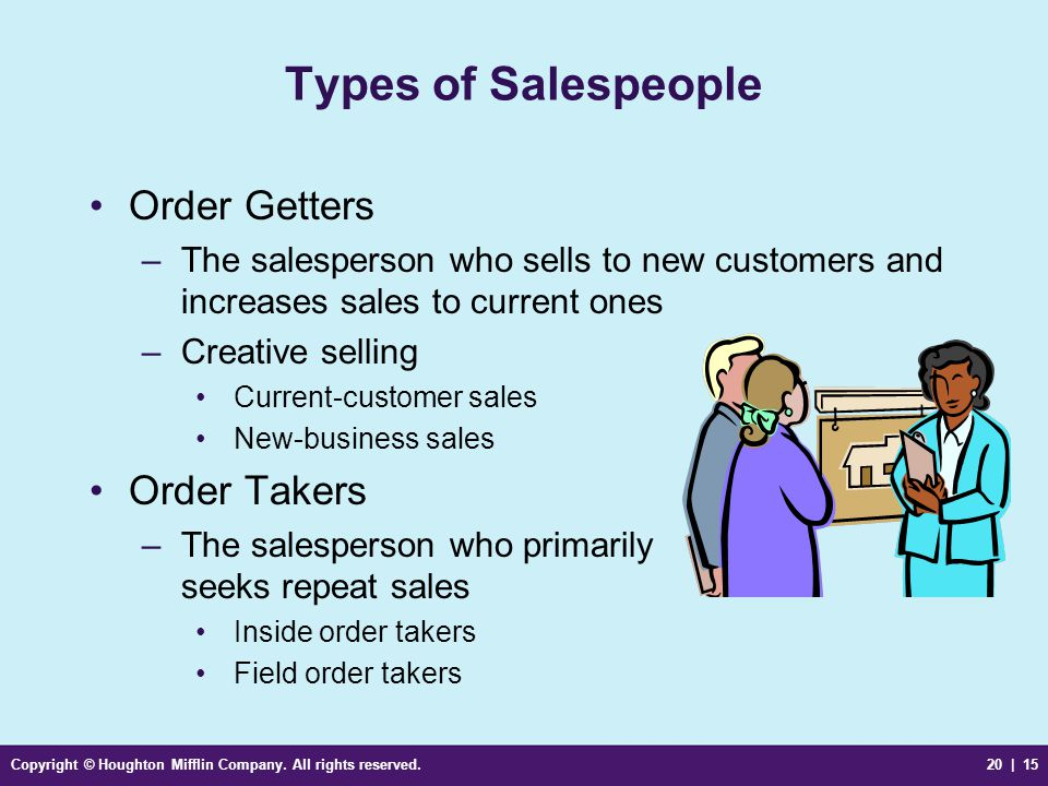 Types of Salespeople Order Getters Order Takers