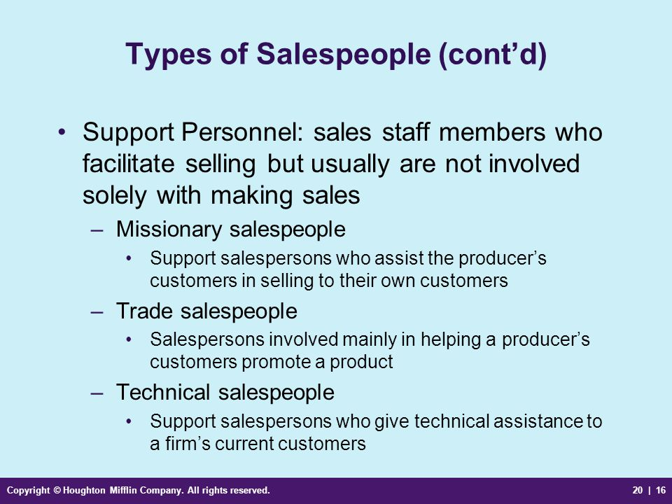 Types of Salespeople (cont'd)