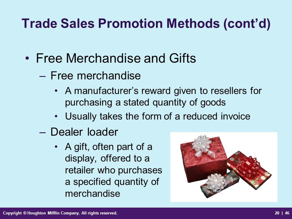 Trade Sales Promotion Methods (cont'd)