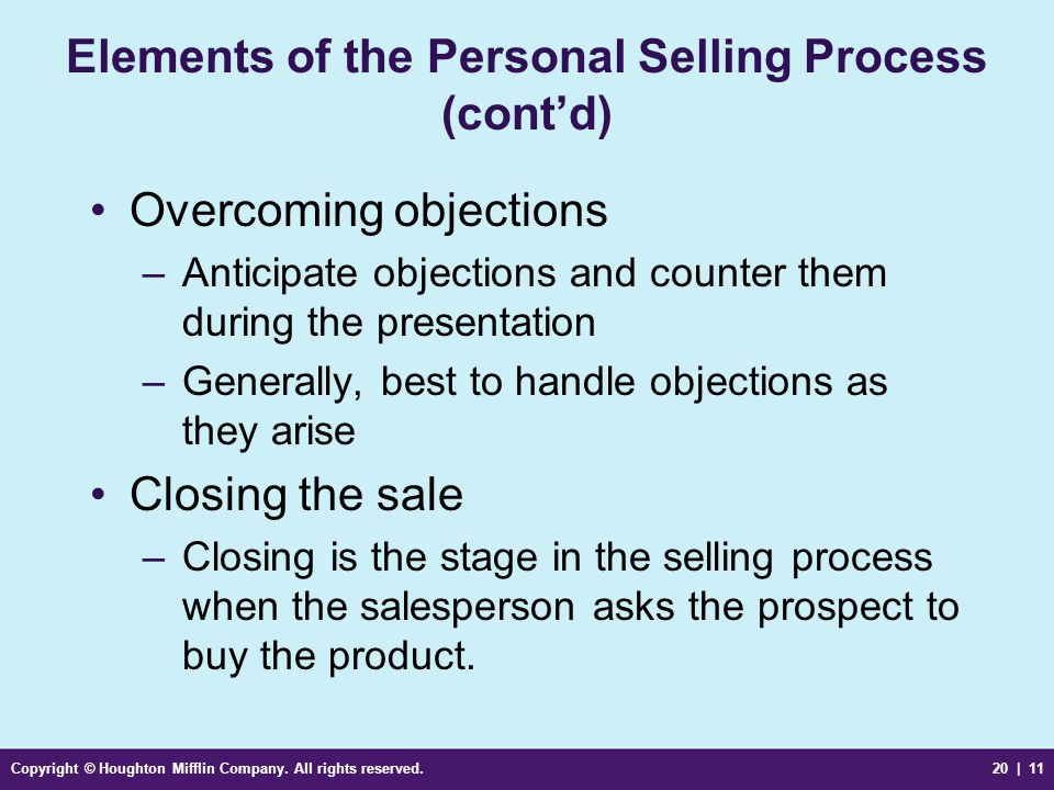 Elements of the Personal Selling Process (cont'd)