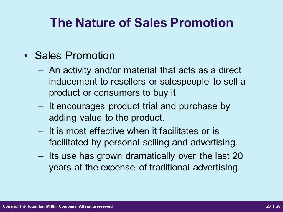 The Nature of Sales Promotion