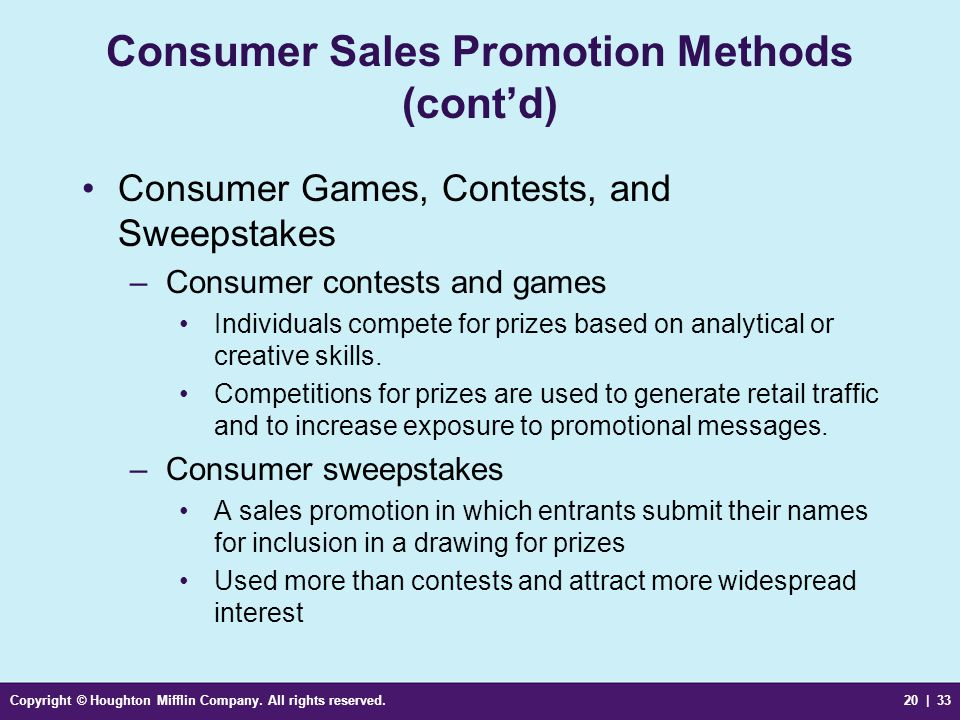 Consumer Sales Promotion Methods (cont'd)