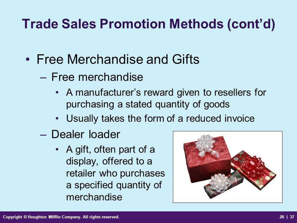 Trade Sales Promotion Methods (cont'd)