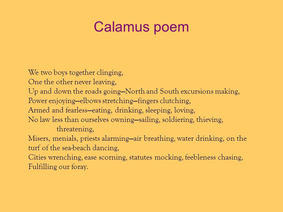 Calamus poem We two boys together clinging,