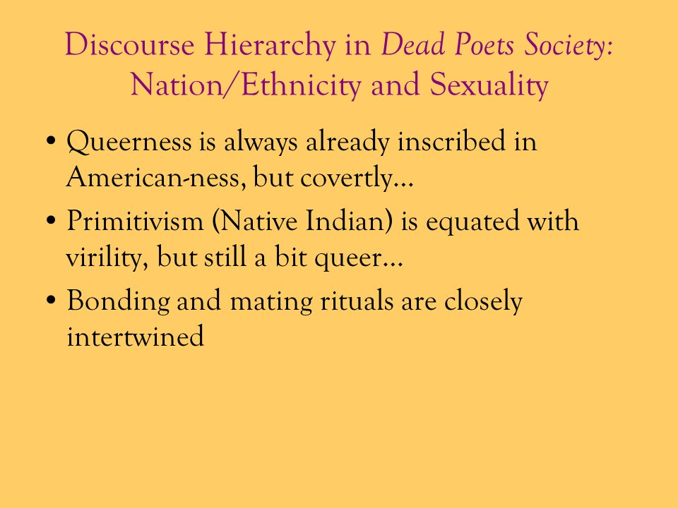 Discourse Hierarchy in Dead Poets Society: Nation/Ethnicity and Sexuality
