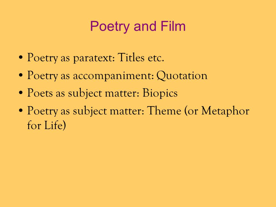 Poetry and Film Poetry as paratext: Titles etc.