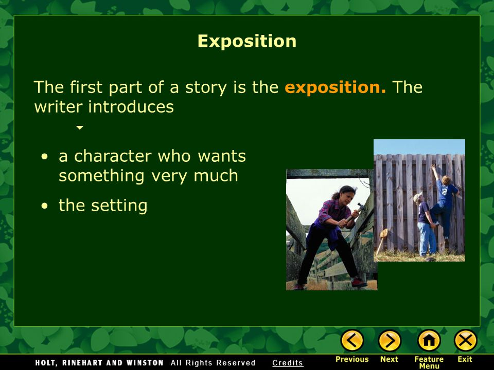 Exposition The first part of a story is the exposition. The writer introduces. a character who wants something very much.