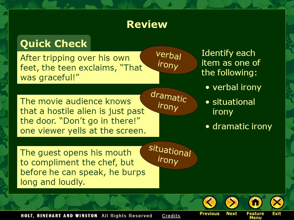 Review Quick Check verbal irony
