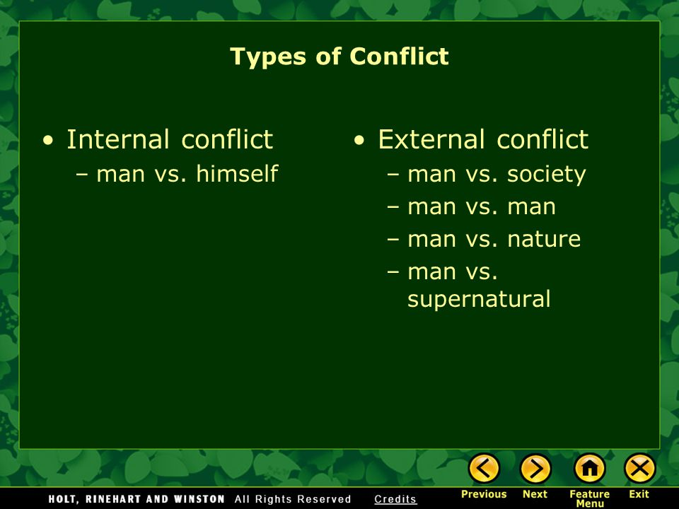 Internal conflict External conflict Types of Conflict man vs. himself