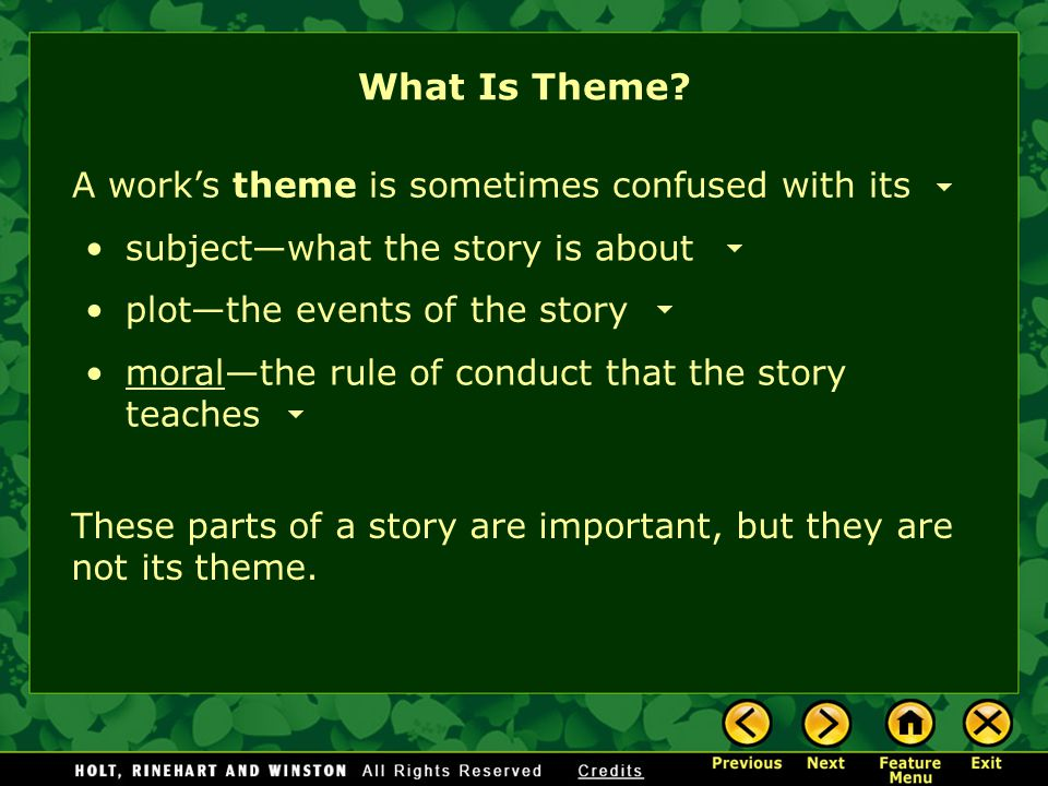 What Is Theme A work's theme is sometimes confused with its