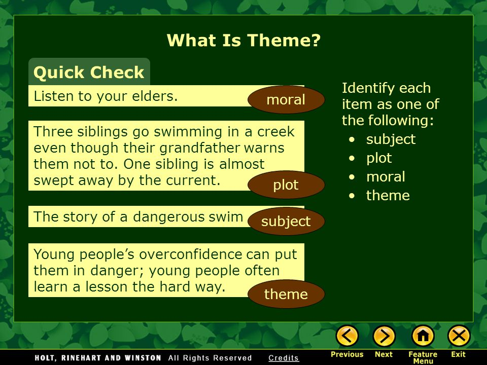 What Is Theme Quick Check Identify each item as one of the following: