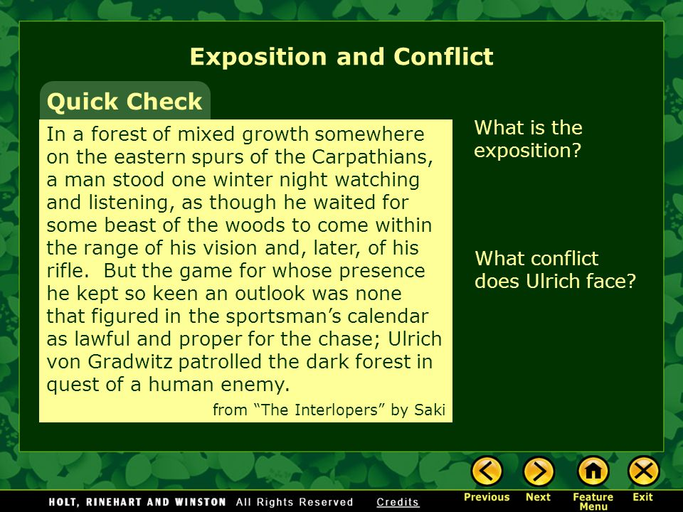 Exposition and Conflict