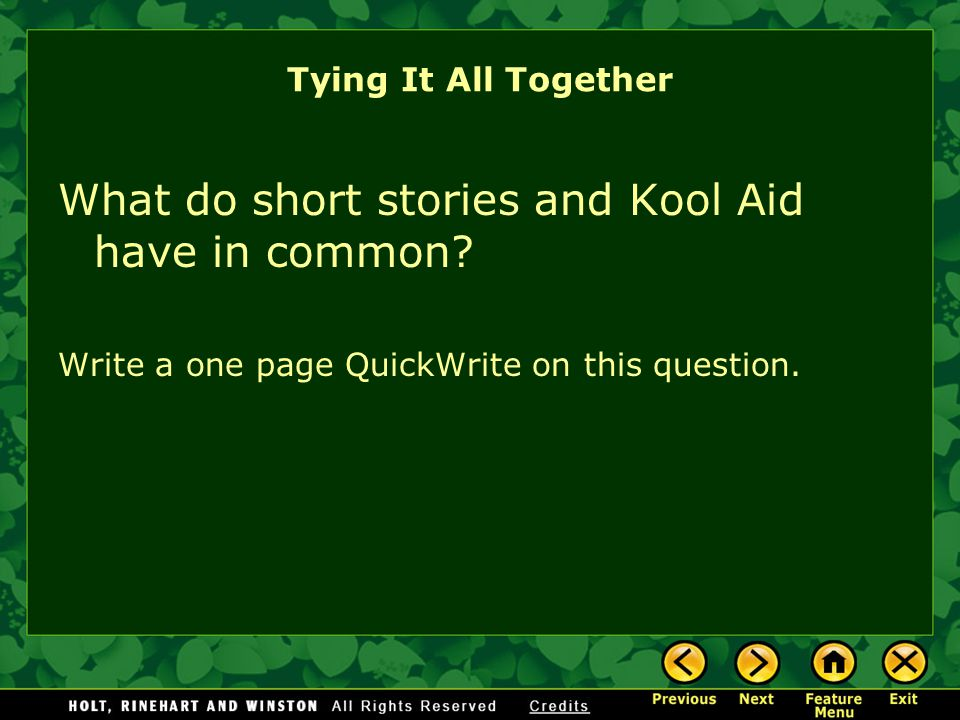 What do short stories and Kool Aid have in common