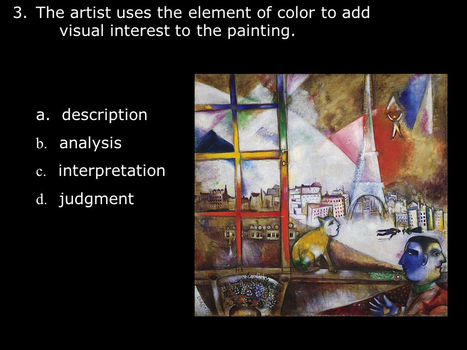 The artist uses the element of color to add