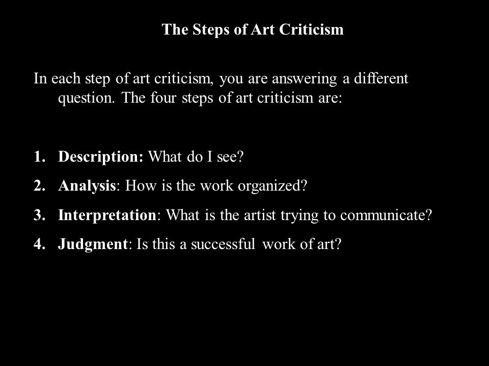 The Steps of Art Criticism