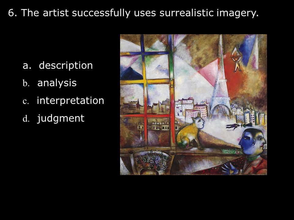 6. The artist successfully uses surrealistic imagery.