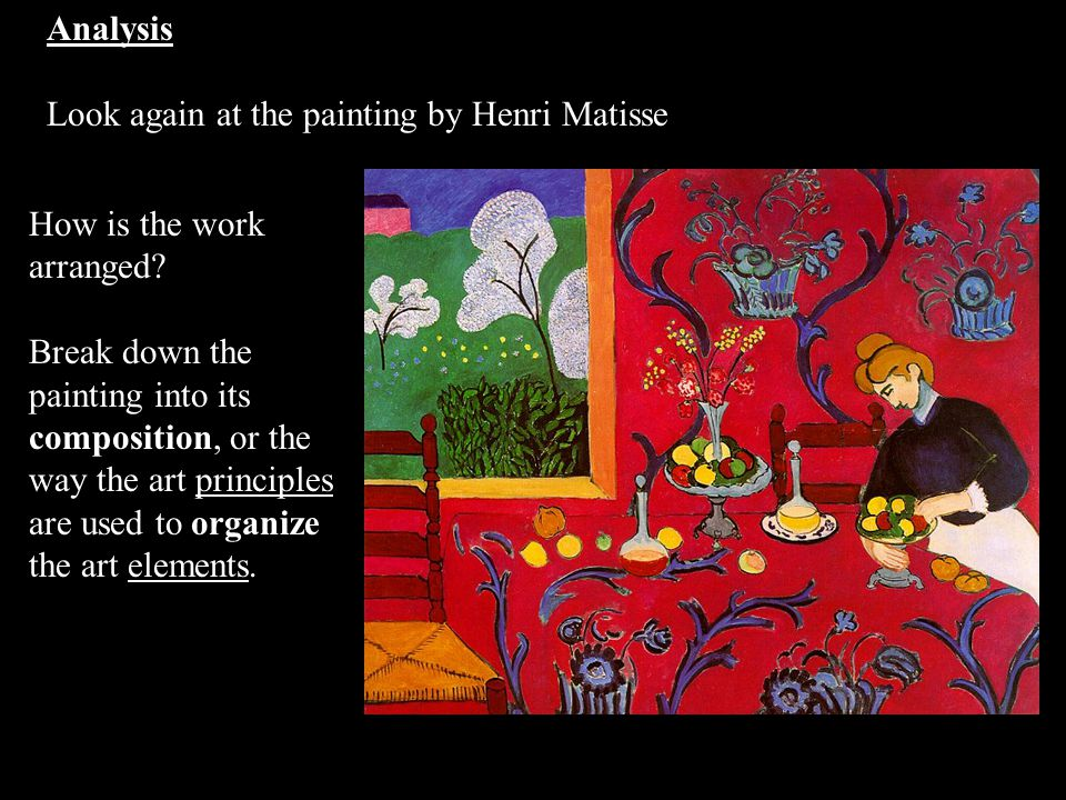 Analysis Look again at the painting by Henri Matisse. How is the work arranged