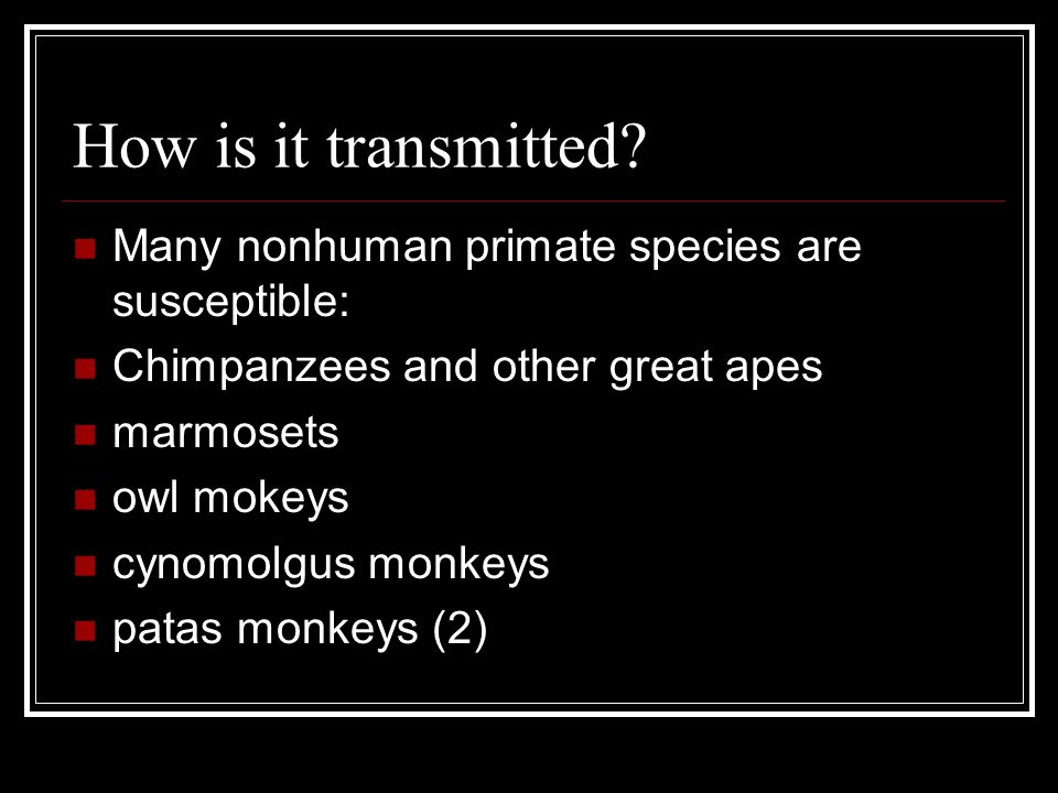 How is it transmitted Many nonhuman primate species are susceptible: