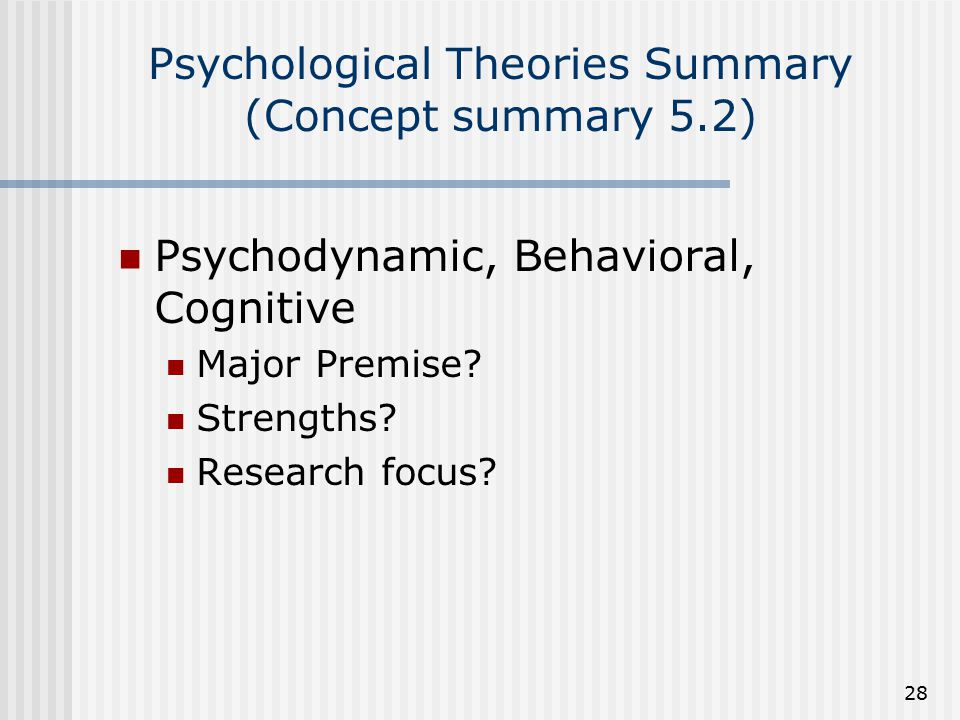 Psychological Theories Summary (Concept summary 5.2)