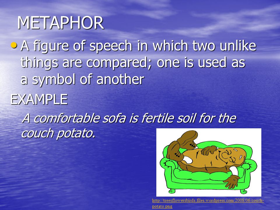METAPHOR A figure of speech in which two unlike things are compared; one is used as a symbol of another.