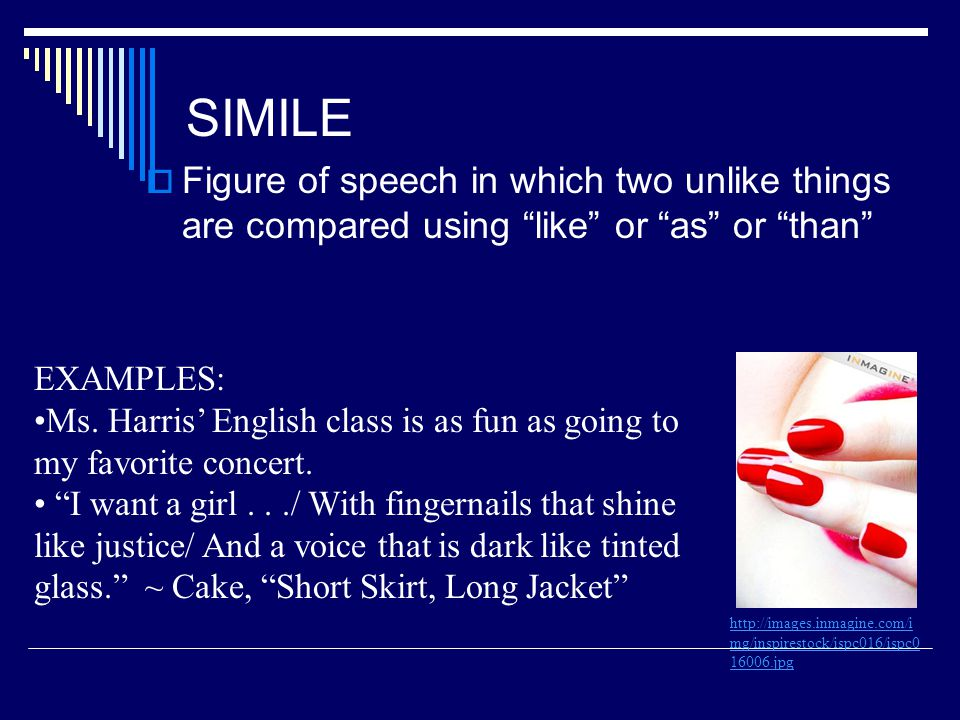 SIMILE Figure of speech in which two unlike things are compared using like or as or than EXAMPLES: