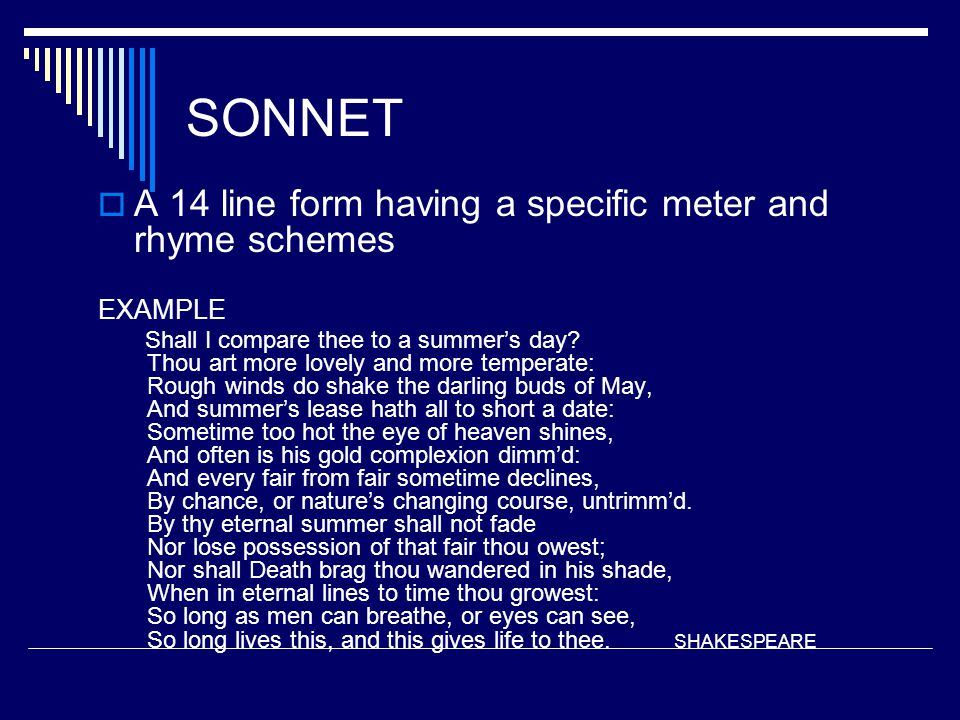 SONNET A 14 line form having a specific meter and rhyme schemes