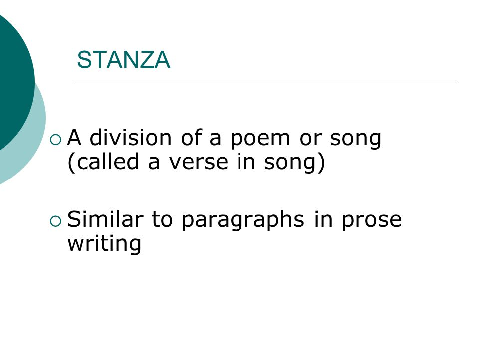 STANZA A division of a poem or song (called a verse in song)