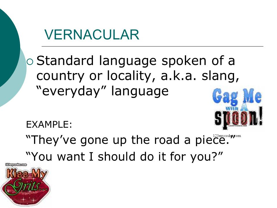 VERNACULAR Standard language spoken of a country or locality, a.k.a. slang, everyday language. EXAMPLE: