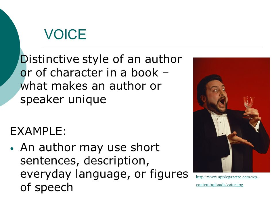 VOICE Distinctive style of an author or of character in a book – what makes an author or speaker unique.