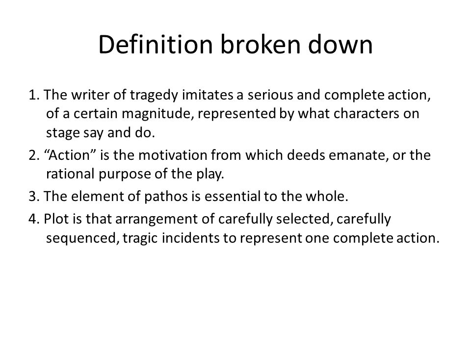 Definition broken down