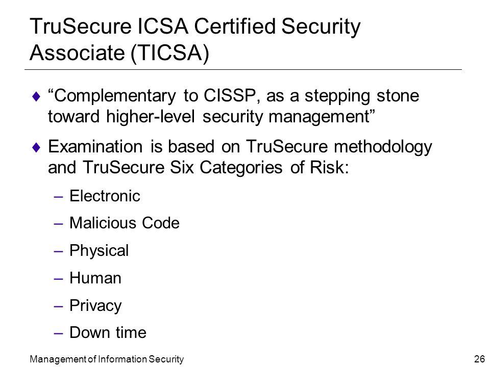 TruSecure ICSA Certified Security Associate (TICSA)