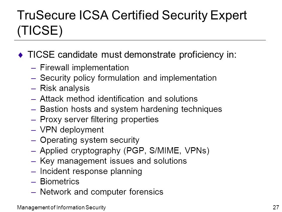 TruSecure ICSA Certified Security Expert (TICSE)
