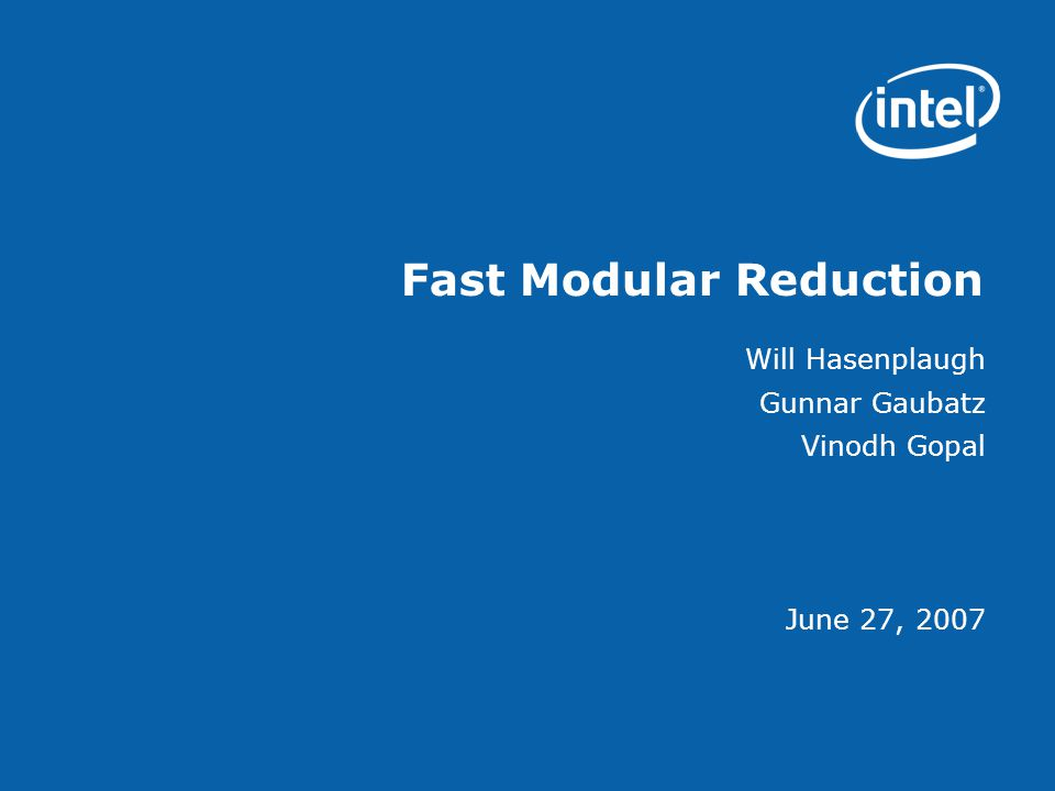 Fast Modular Reduction