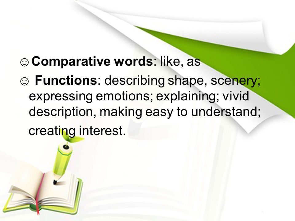 ☺Comparative words: like, as