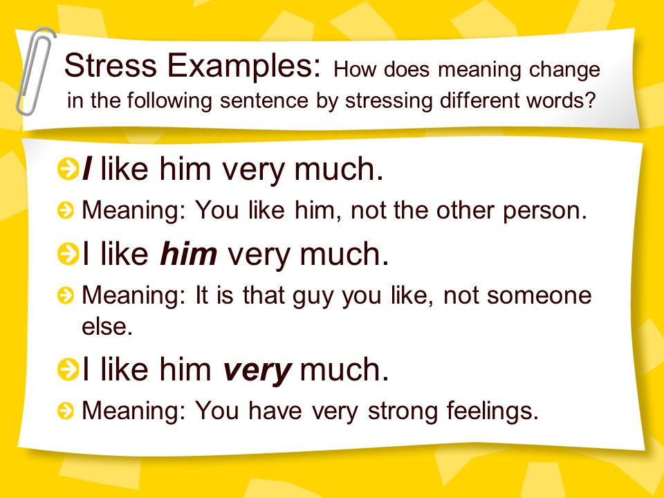 Stress Examples: How does meaning change in the following sentence by stressing different words