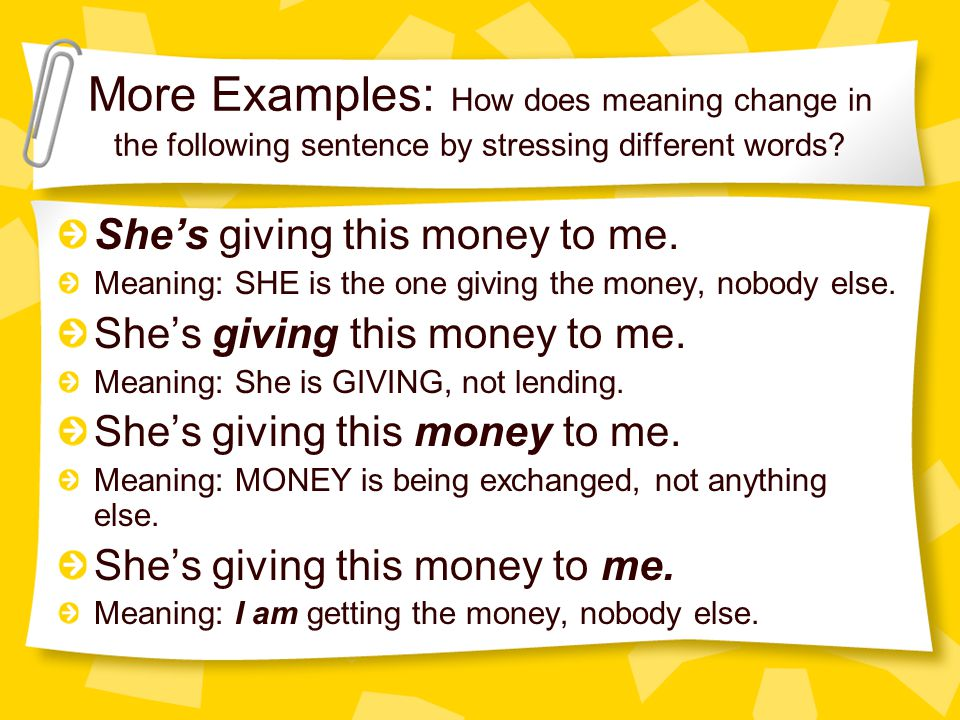 More Examples: How does meaning change in the following sentence by stressing different words