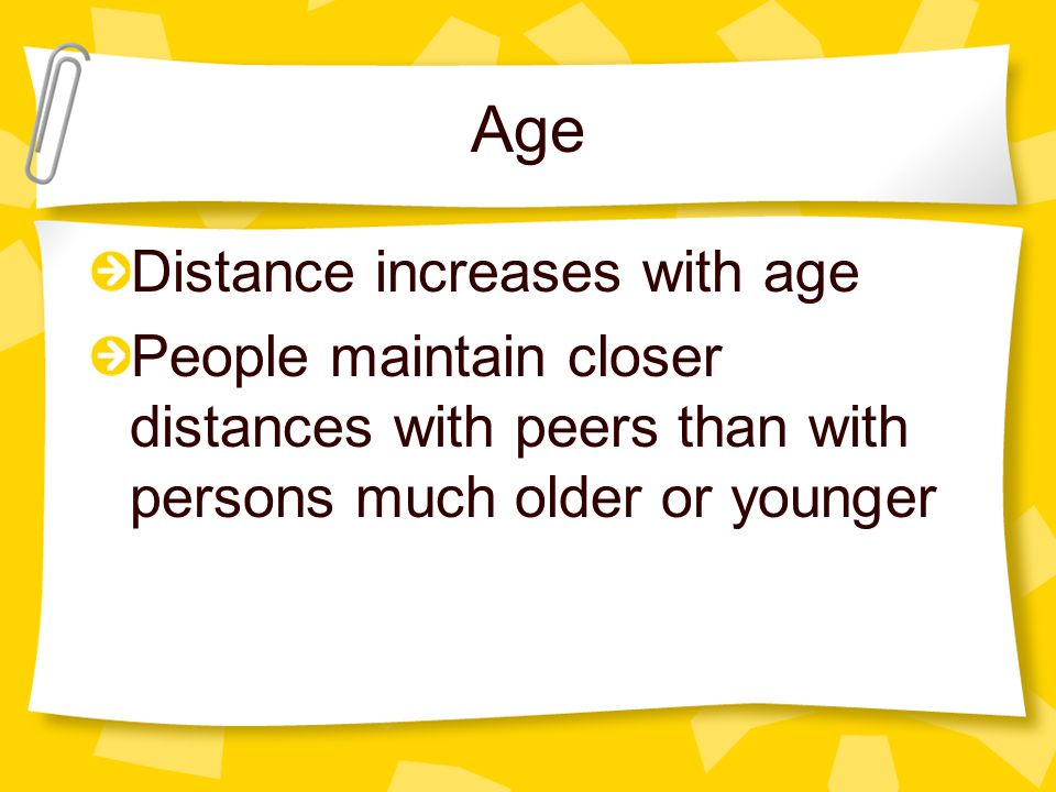Age Distance increases with age