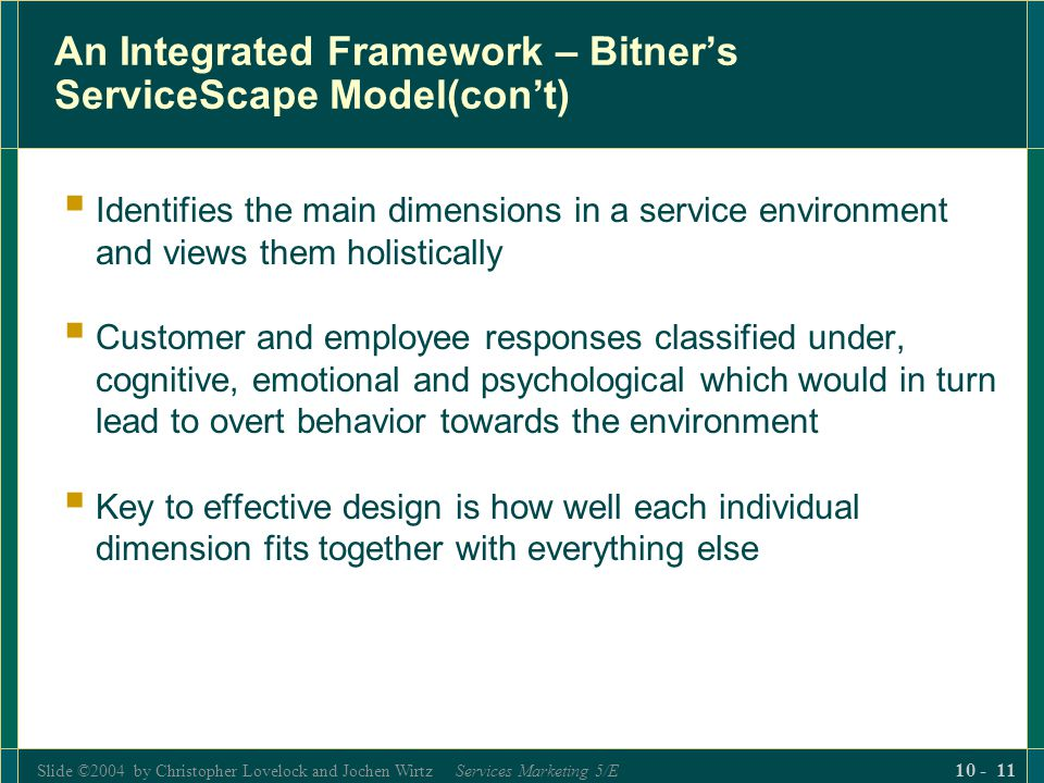 An Integrated Framework – Bitner's ServiceScape Model(con't)