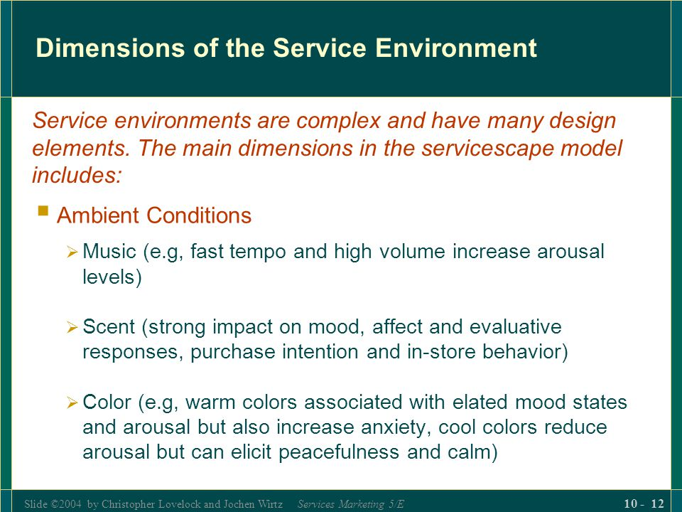 Dimensions of the Service Environment