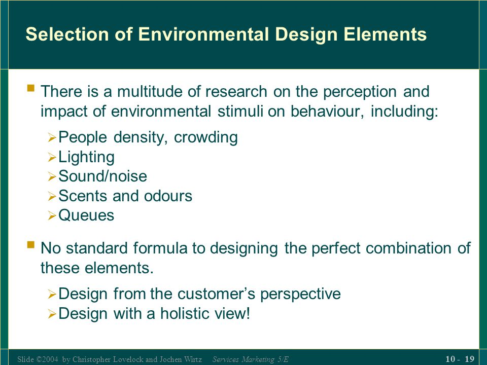 Selection of Environmental Design Elements